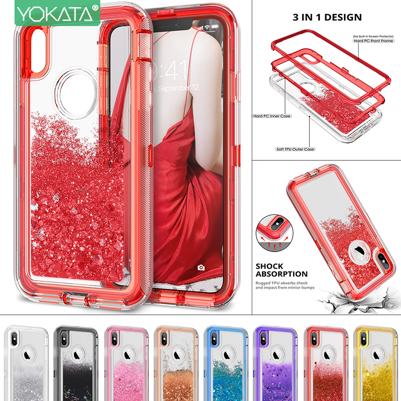 Caixa de areia movediça para iphone x xs 11 pro max 7 8 6s mais caso para iphone xr casos capa 360 tpu glitter bling líquido duro proteger