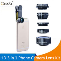 Orsda HD Phone Camera Lens Kit 5 In 1 For IPhone 6 6s Plus Samsung Galaxy