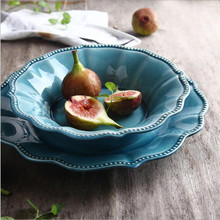 Ice Cracked Ceramic Tableware Underglaze Color Lace Large Dish Dishware Dessert Plate Restaurant Hotel Salad Bowl 1PC