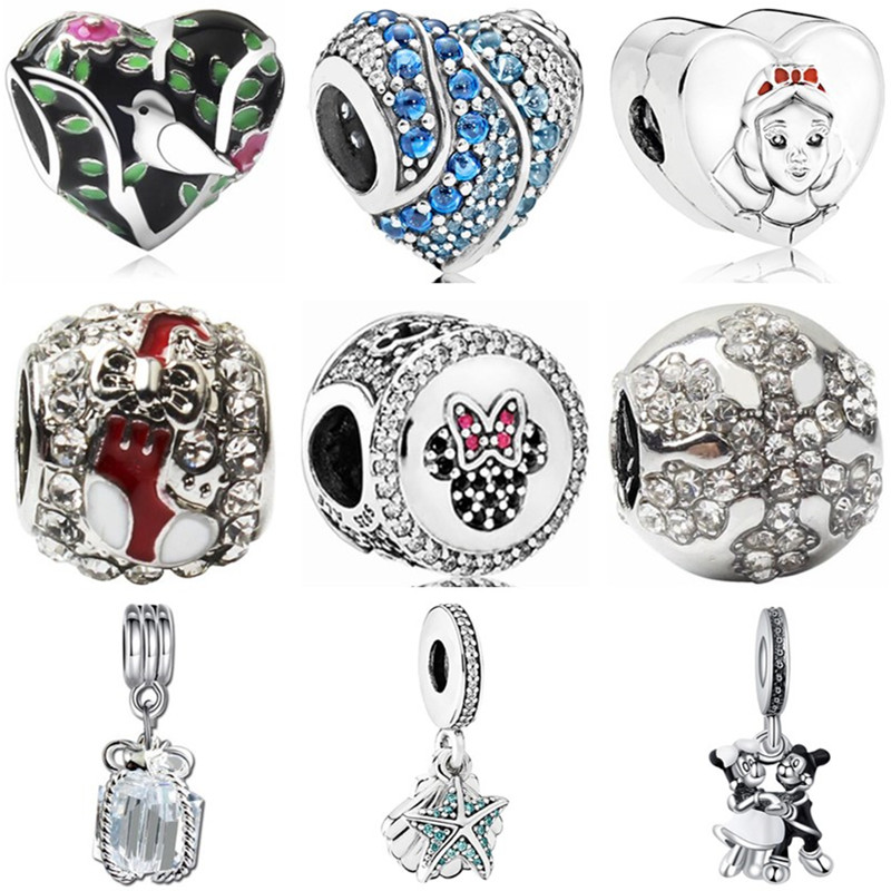Minnie Beads Necklaces Jewelry Charms Snowflake Crystal Peacock Fit Pandora Moon Cross-Heart