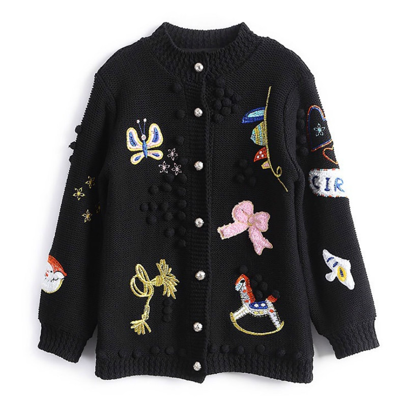 Christmas Cardigan Sweaters.Us 50 23 25 Off Autumn Winter Women Cardigans Sweaters Luxury Brand Design Knitted Christmas Sweater High Quality Cartoon Embroidery Cardigans In