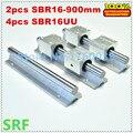 Guia linear SBR16 rail set: 2 pcs SBR16 L = 900mm apoio ferroviário eixo linear + 4 pcs SBR16UU Blocos de Rolamento de Movimento Linear para CNC