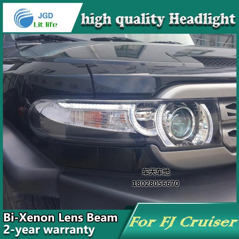 Car Styling Head Lamp case for Toyota FJ Cruiser 2008-2014 LED Headlights DRL Daytime Running Light Bi-Xenon HID Accessories
