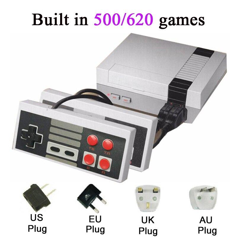 Мини ТВ ручной Семья Отдых игровой консоли AV Порты и разъёмы Ретро встроенный 500/620 классических игр двойной геймпад игровой плеер