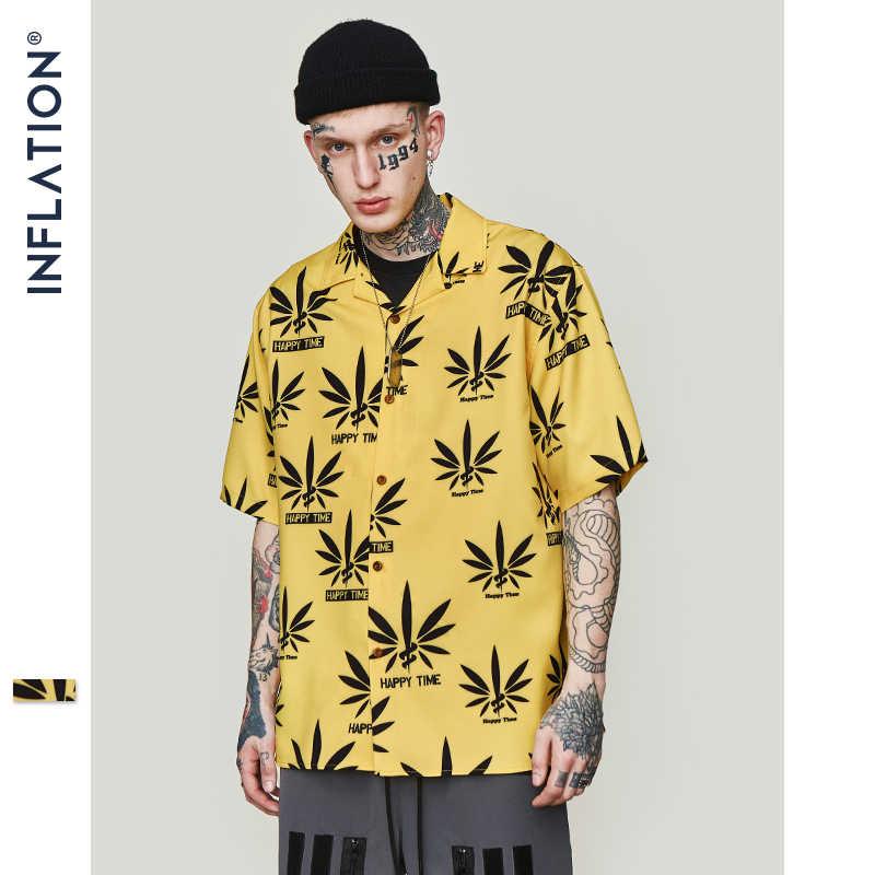 Инфляция лист желтая рубашка 2019 модная мужская с коротким рукавом Гавайская рубашка Летняя Повседневная негабаритная рубашка с принтом уличная 9214 S