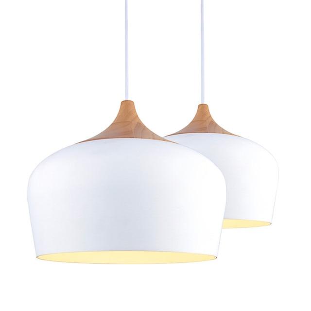 Moderne Noir Blanc Lustre Abat Jour Lampes Suspendues Chªne Bois