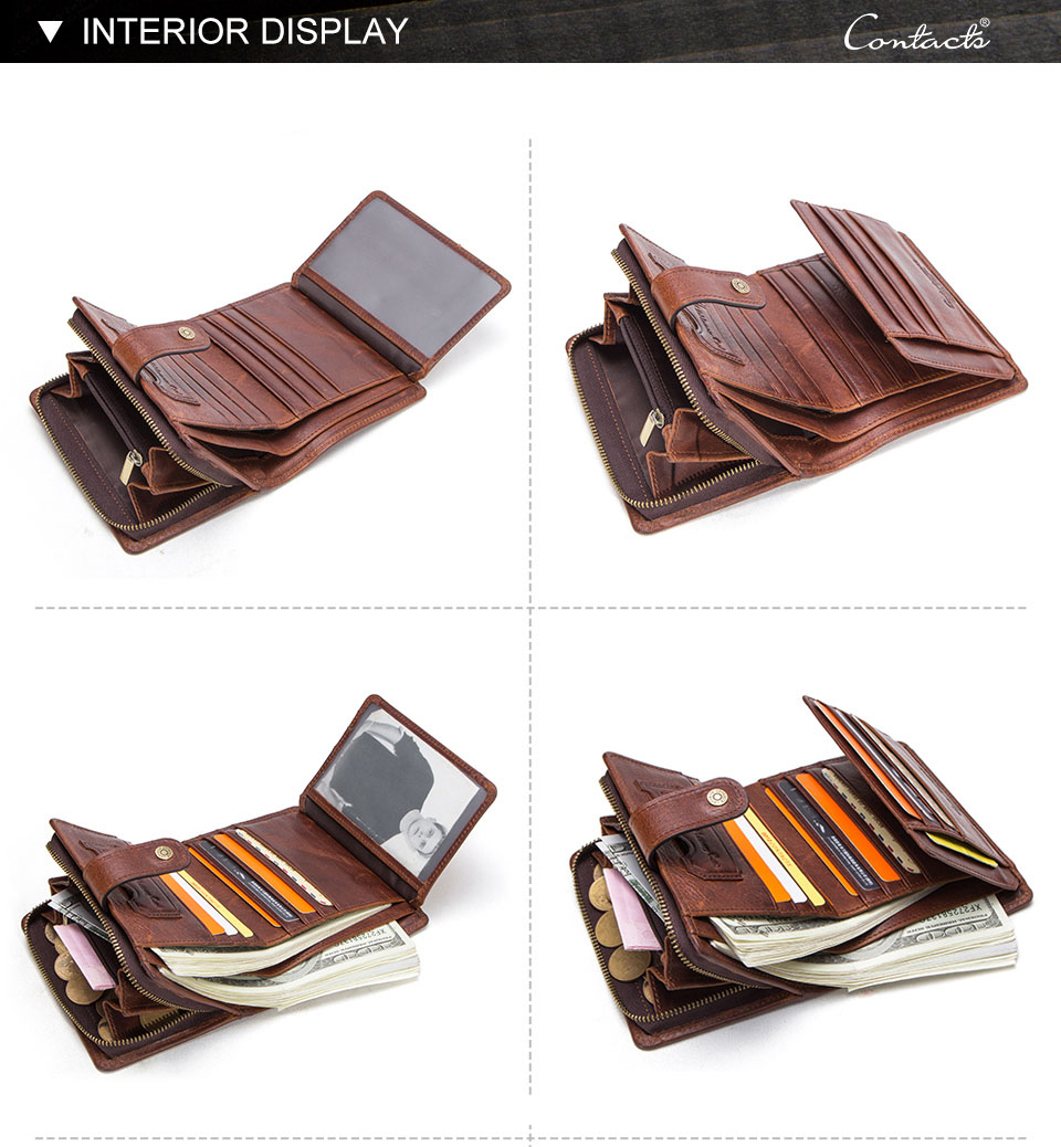 HTB1P6BxasvrK1Rjy0Feq6ATmVXab - CONTACT'S genuine leather RFID vintage wallet men with coin pocket short wallets small zipper walet with card holders man purse