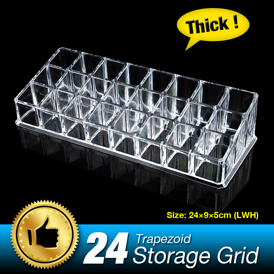 24 grids detachable lipstick display box lippie holder cosmetic organizer make up storage stand box nail polish storage shelf