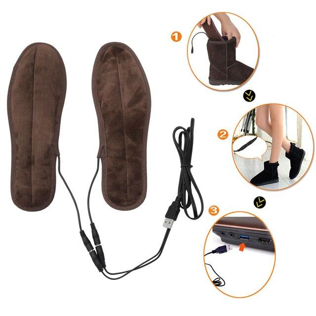 THINKTHENDO New Electric USB Alimentado Plush Fur Inverno Manter Quente Sapatos Pé Palmilha Palmilhas De Aquecimento