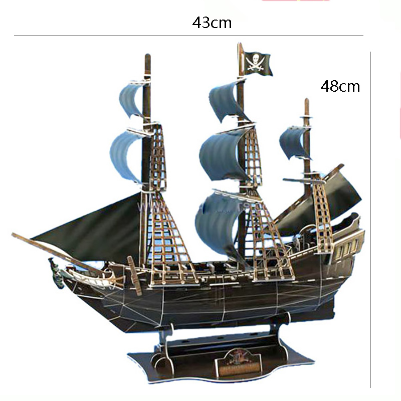 2018 Creative Caribbean Pirate Black Pearl Queen Revenge Childrens Puzzle Toy DIY Assembly Model Children Room Decoration