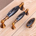 128mm black gold flower ceramic wardrobe kitchen cabinet door handles yellow bronze drawer tv cabinet cupboard pulls knobs 5""