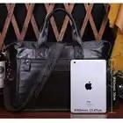 Vintage Crossbody Bags Men Briefcase Handbag Men Messenger Bag Crazy Horse Genuine Leather Shoulder Leather Laptop Bag brown