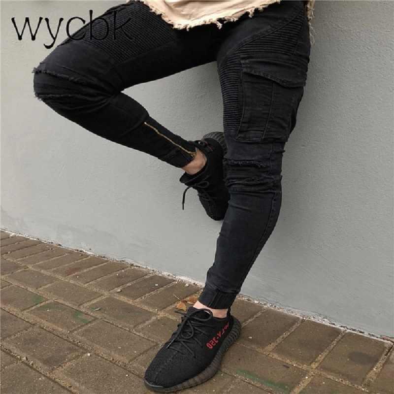 d2c7ef850b Wycbk patchwork personalidad locomotora jeans motocicleta jeans hombres  algodón lápiz jeans hombres moda calle estilo skinny
