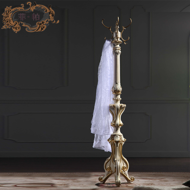 Luxury Classic Home Furniture Baroque Antique Solid Wood Hand Carved Simple Antique Wooden Coat Rack