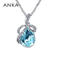ANKA Crystal From Austrian water drop shape crystal pendant necklace simple style for women luxury wedding fine jewelry #26238