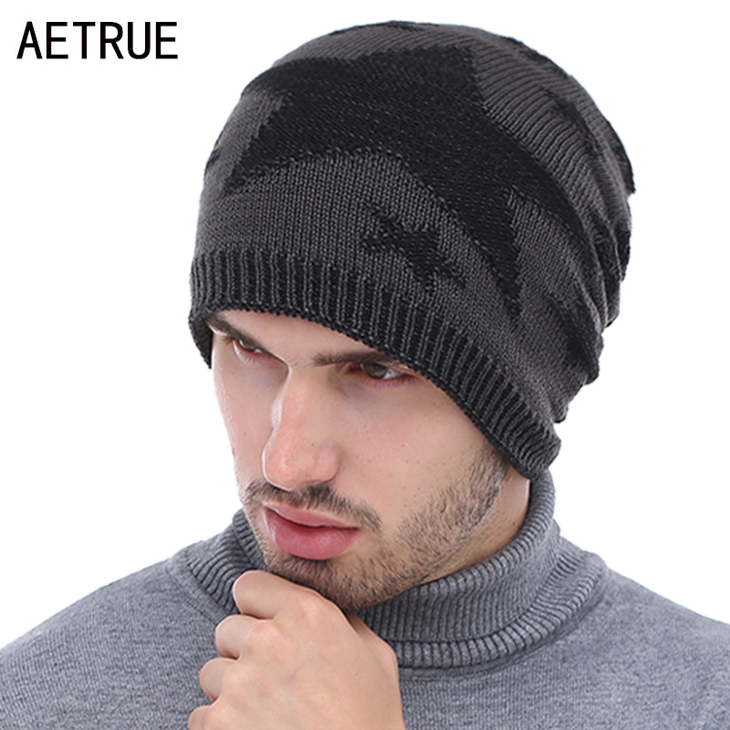 AETRUE Knitted Hat Winter Beanies Men Caps Gorras Bonnet Plain Warm Baggy Blank Winter Hats For Men Women Skullies Beanies Hats