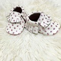 Wholesale 20 pairs/lot New Gold Polka dots Genuine Leather baby Moccasins baby Shoes Newborn first walker Anti-slip Infant Shoes