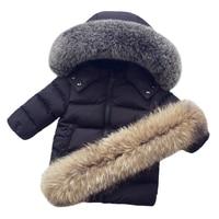 Kids Down Jacket Boy Girls Winter Warm Parkas Big Real Raccoon Fur Hooded Jackets Children Down Coats Baby Boy Girl Duck Down