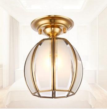 American vintage copper frosted glass Ceiling lights Handwork soldering indoor E27 LED lamp for porch&pavilion&stairs BRSXDD009