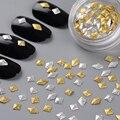 100 unids/caja Oro Plata 3D Decoración Del Clavo Cuadrado Rombo Patrón Mixto Manicura Nail Art Decoración