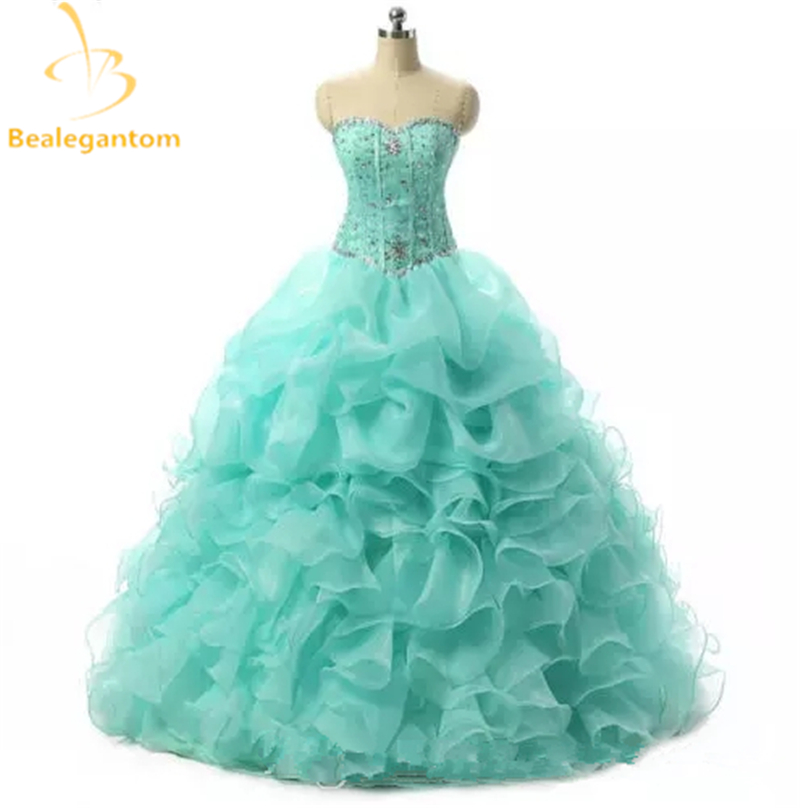 2019 New Mint Pink Ball Gown Quinceanera Dresses Organza With Beads Crystal Sequined Sweet 16 Dress For 15 Years In Stock
