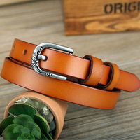 Women Leather Belt Ladies Narrow Pin Buckle Leather Waistband Pure Color Retro Belt Flower Decorative Pin