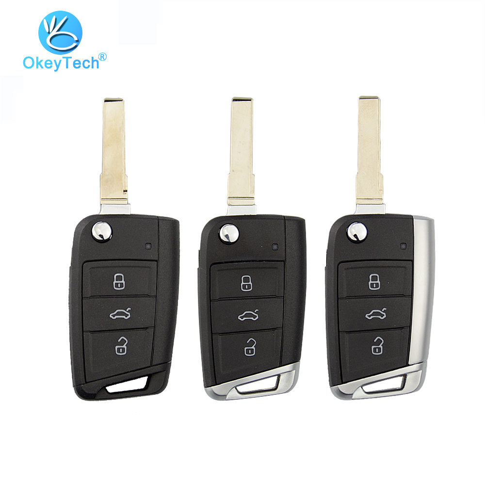 OkeyTech 3 Button Flip Folding Replacement Metal Side Cover Case Fob Modified Auto Car Key Shell for VW Golf 7 MK7 Skoda Seat(China)