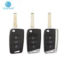 OkeyTech складной чехол с 3 кнопками для замены, металлический чехол с боковым покрытием, модифицированный Чехол для автомобильного ключа для VW Golf 7 MK7 Skoda Seat