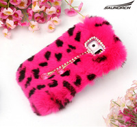 Cute Protective DIY Warm Diamond Decorating Phone Case Rex Rabbit Fur Fashion Mobile Cell Phone Cover