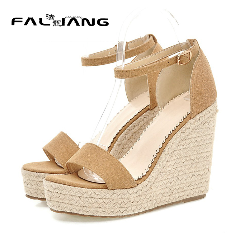 New Rome Peep Toe Small code 7 8  Flock women shoes Fashion woman Wedges Super High ladies womens Super High new 2017 spring summer women shoes pointed toe high quality brand fashion womens flats ladies plus size 41 sweet flock t179