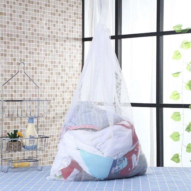 60x90 cm Grande Tamanho Lavandaria Saco Com Cordão Mulheres Underwear Bra Saco de Roupa Máquina de Lavar Roupa Protector Malha saco de lavagem