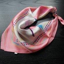 Яркое шелковое маленькое полотенце, тонкий Шелковый шарф для женщин, шелк тутового цвета, платок с принтом 55*55 см