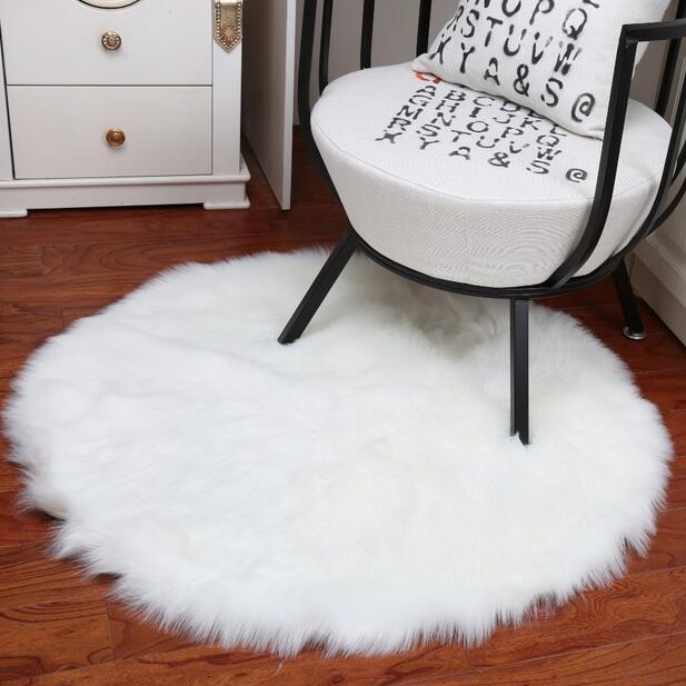 Plusch Shaggy Weiche Runde Schaffell Teppich Rutschfeste Boden