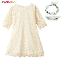PaMaBa Baby Girls Lace Dress 3 4 Sleeve Kids Clothing Spring Summer Autumn Filles Party Princess