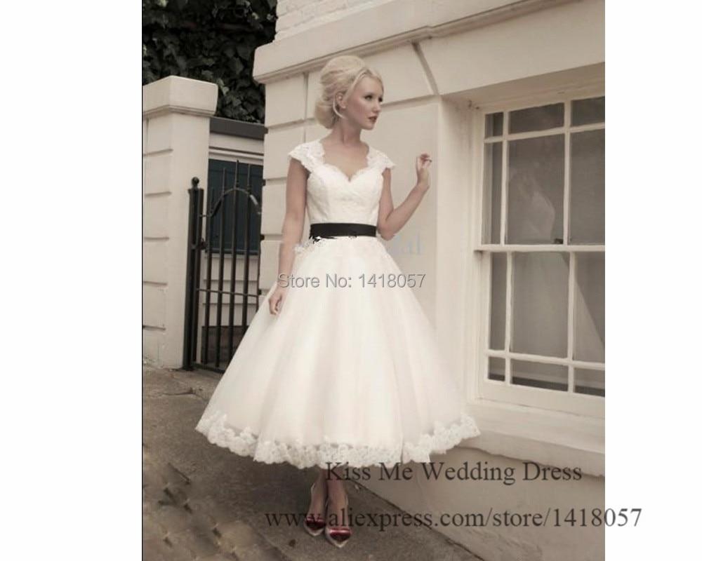 2015 Vintage Short Wedding Dress Tea Length Lace Bridal Gowns White