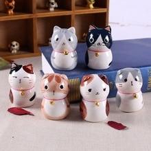 Japan style 6pcs ceramic maneki neko home decor crafts room decoration porcelain animal figurine lucky cat ornament gift