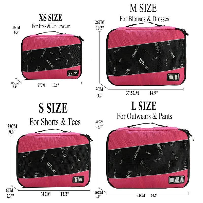 Soperwillton упаковочные кубики, нейлоновая дорожная сумка-Органайзер, Воздухопроницаемая сетчатая дорожная сумка для мужчин и женщин, органайзер для путешествий - Цвет: Rose XS-S-M-L