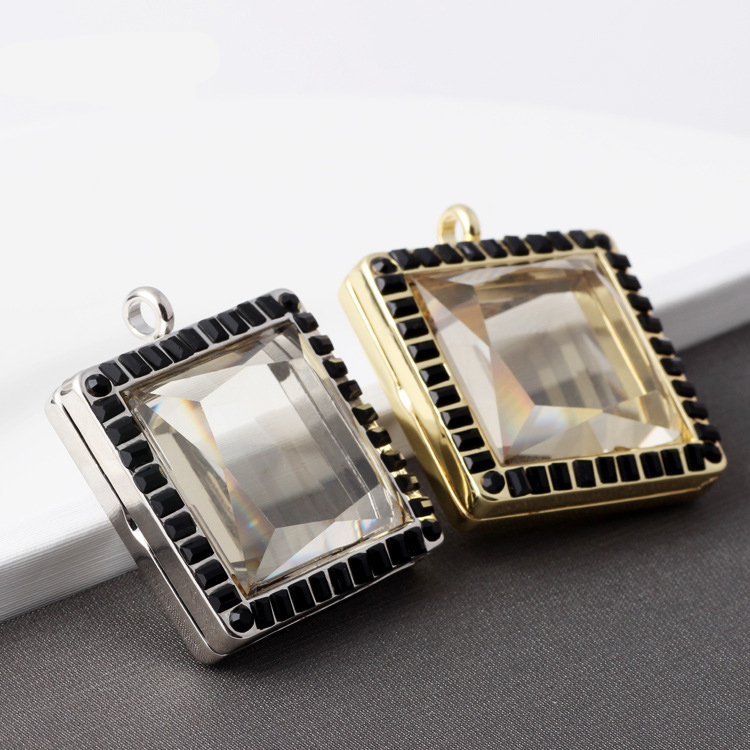 5pcslot square openable glass floating locket for charms simulated diamond photo frame shape