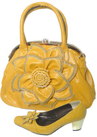 Yellow African Shoes And Handbag With Rhinestones Italian Shoes And Matching Handbag Set For Elegant Lady