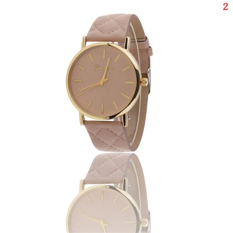 Relojes de las mujeres señoras de la marca de cuadrícula casual leatherwatches Multicolor Simple elegante reloj Femenino reloj de cuarzo dial de acero Inoxidable