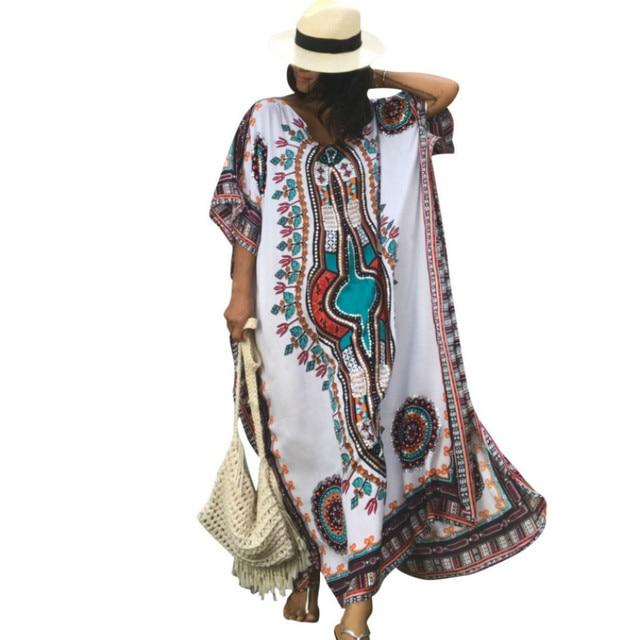 Plus Size Women Summer African Ethnic Print Kaftan Maxi Dress 2019 Summer  Loose Vintage Boho Beach 8d30be741ed4