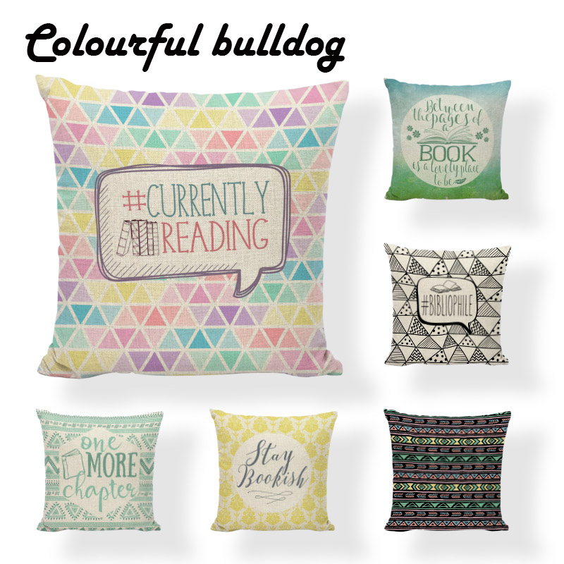 Time to Read Books Geometry Feather Sofa Pillow Case Decorative Letters Cushion Cover Study Series Colorful Stripe Pillow Cover
