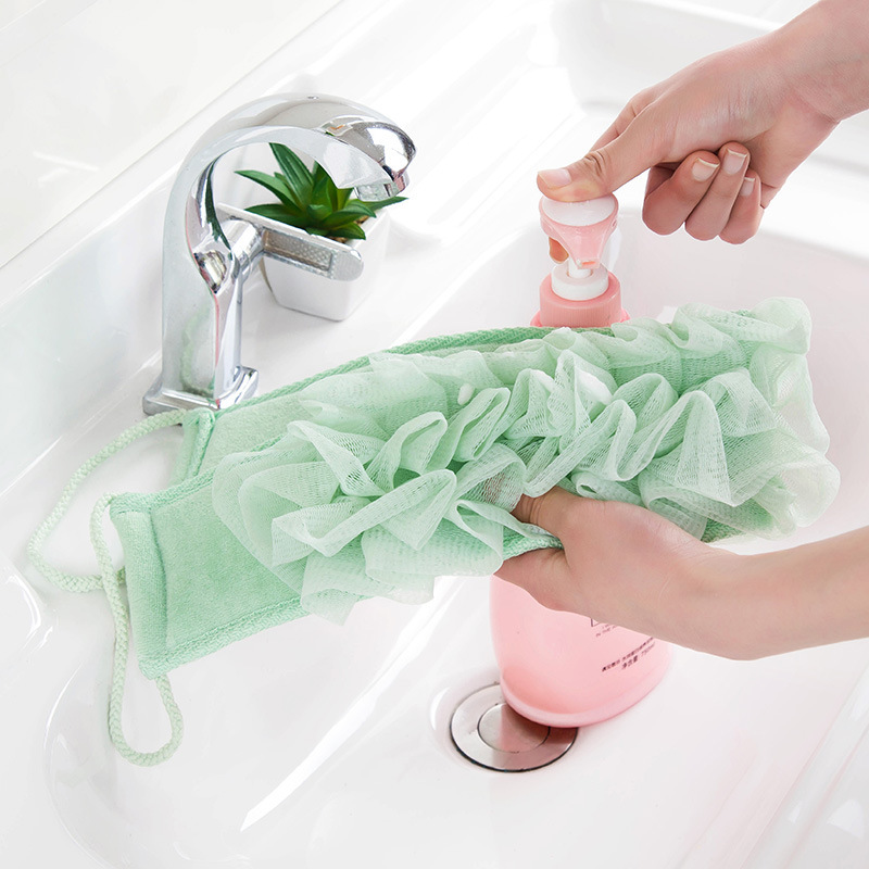 Long Bath Flower Body Wash Brush Foaming For Back Sponge Shower Exfoliate Strap Mesh Net Shoulder Scrubber