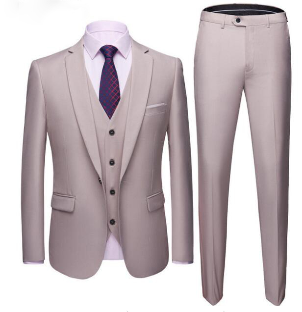 Custom Made Gentleman 3 Pieces Set Fashion Casual Suit Business Wedding Suits For Men Banquet Tuxedo Costume Homme Terno Slim