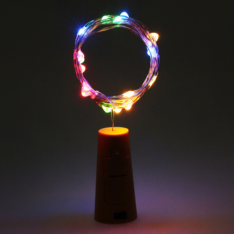 2M 20LED Cork Shaped Bottle Stopper Lampa Glas Vin Silver Koppar Wire - Festlig belysning - Foto 3