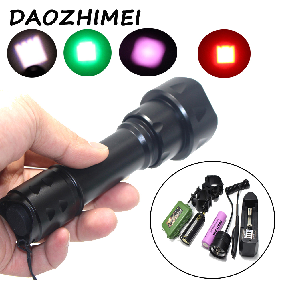 White light/green/Red zoom 5000 lumens high power LED flashlight CREE XM-L L2 Hunting flash+pressure switch/mount/battery/charge