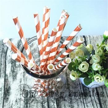 1000pcs/lot Rose Gold Foil Paper Straws Striped Rose Gold Drinking Paper Straws Bulk Wedding Party Favor