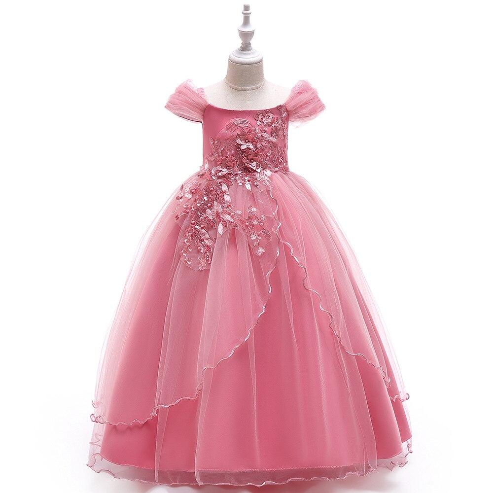 Nouveauté robe de Communion sainte sans épaule robe de princesse robe de bal Appliques enfants robes de soirée pour les filles 4-14 ans B366