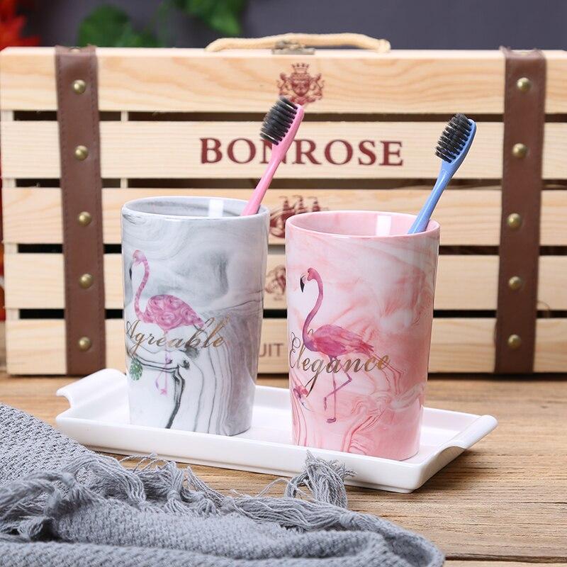 Newyearnew fashion ceramic flamingo bathroom set bathroom accessories high grade wash gargle cup for Flamingo bathroom accessories set