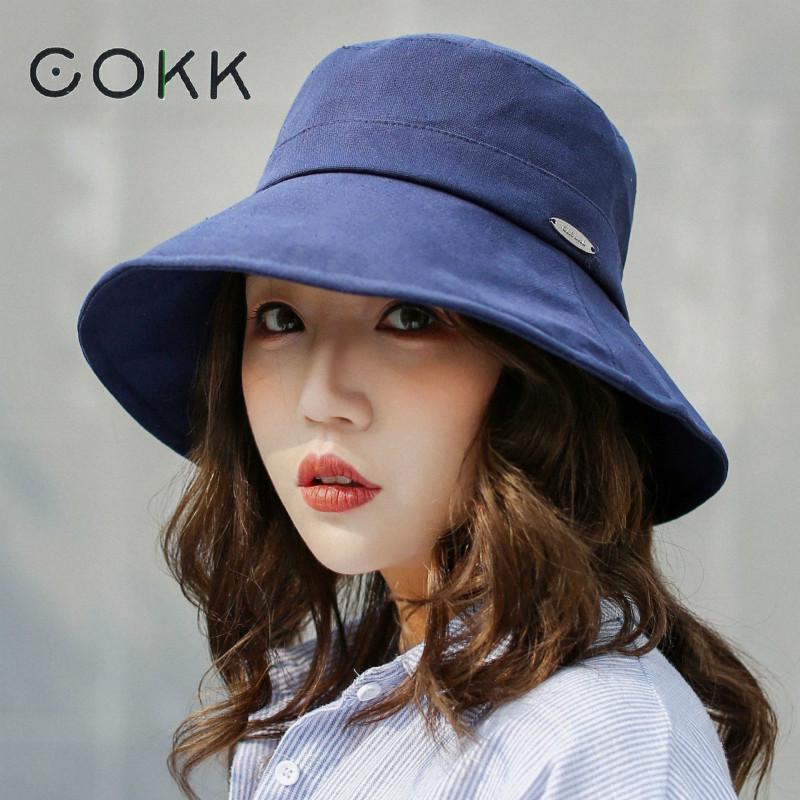 68725d80bd03ef COKK Spring Women Hat Cap Flat Bucket Hat Ladies Sun Hat Female Summer Hip  Hop Panama Cap Bob Chapeau Fisherman Fishing Hat